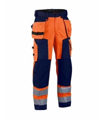 Highvisibility softshell craftsman trouser Orange/Navy blue