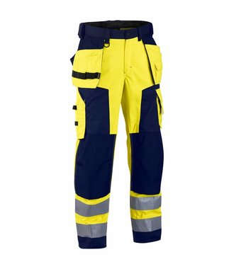 Highvisibility softshell craftsman trouser Yellow/navy blue