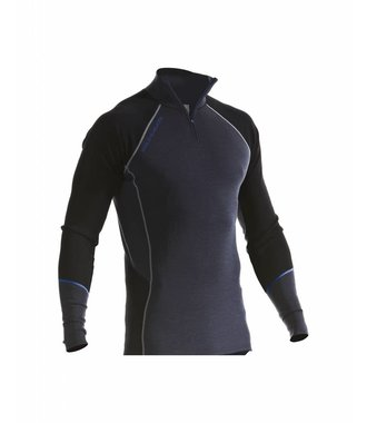 WARM 100% MERINO Zip-neck : Grey/Black - 489917329699