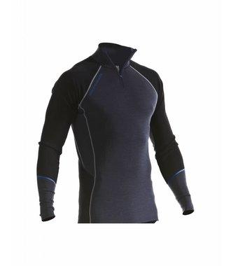 WARM 100% MERINO Zippkragen Oberteil : Grey/Black - 489917329699