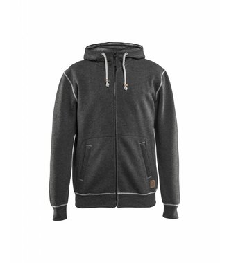 Hoodie with full zipper : Black melange - 339811579991