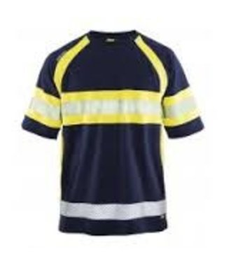 Hi-Vis T-shirt class 1 : Marineblau/Gelb - 333710518933