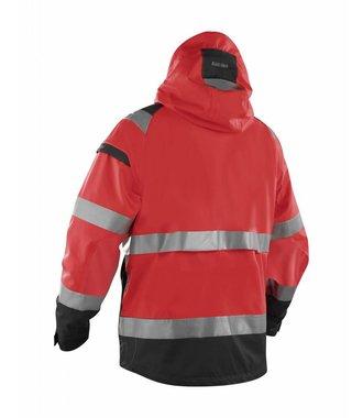 Shell jack High vis ongevoerd : Rood/Zwart - 498719875599