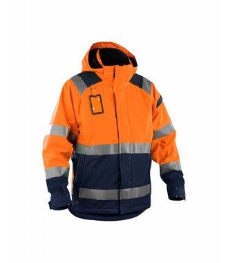 Shell jack High vis ongevoerd : Oranje/Marineblauw - 498719875389