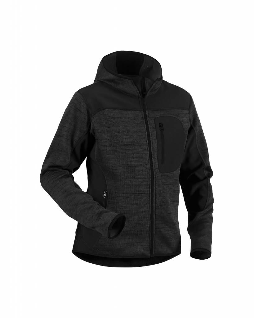 Strick Damen Softshell Jacke : DunkelgrauSchwarz