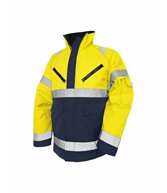 High Vis Winter Jacket, PU Yellow/navy blue