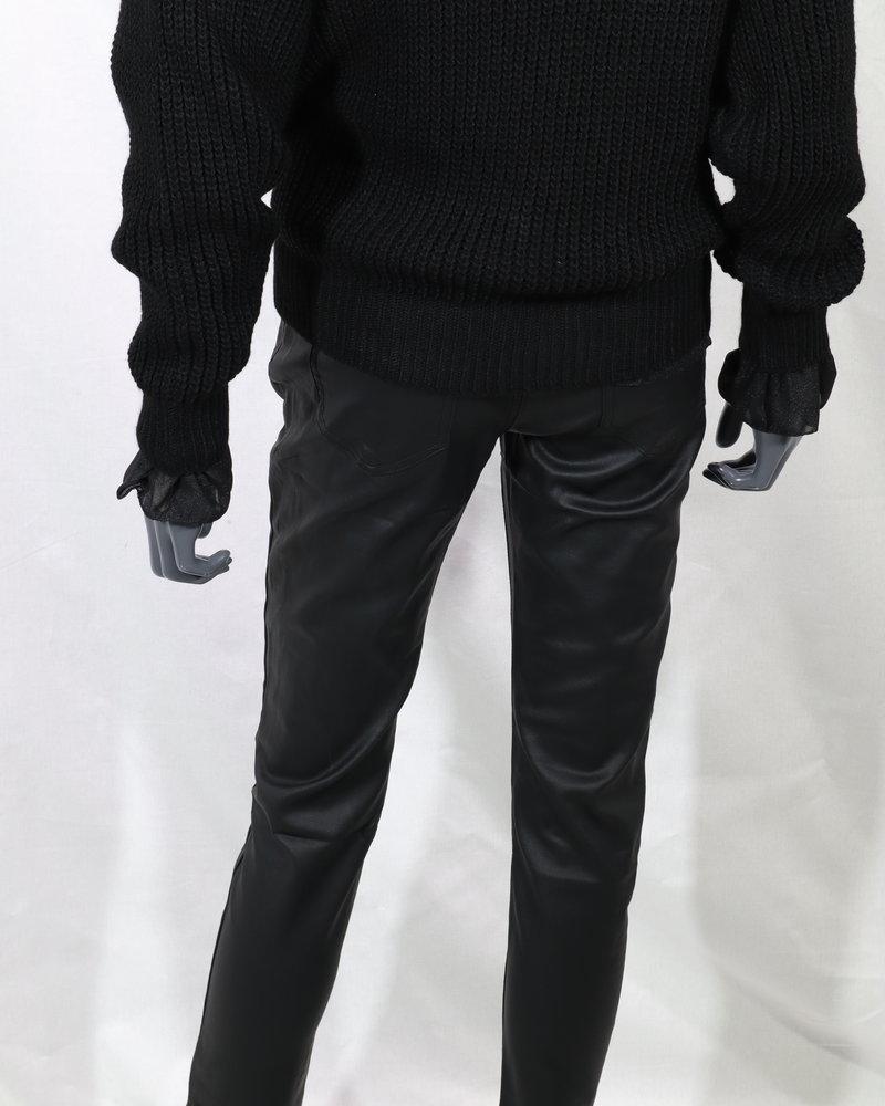 Queen Hearts Leatherlook broek zwart