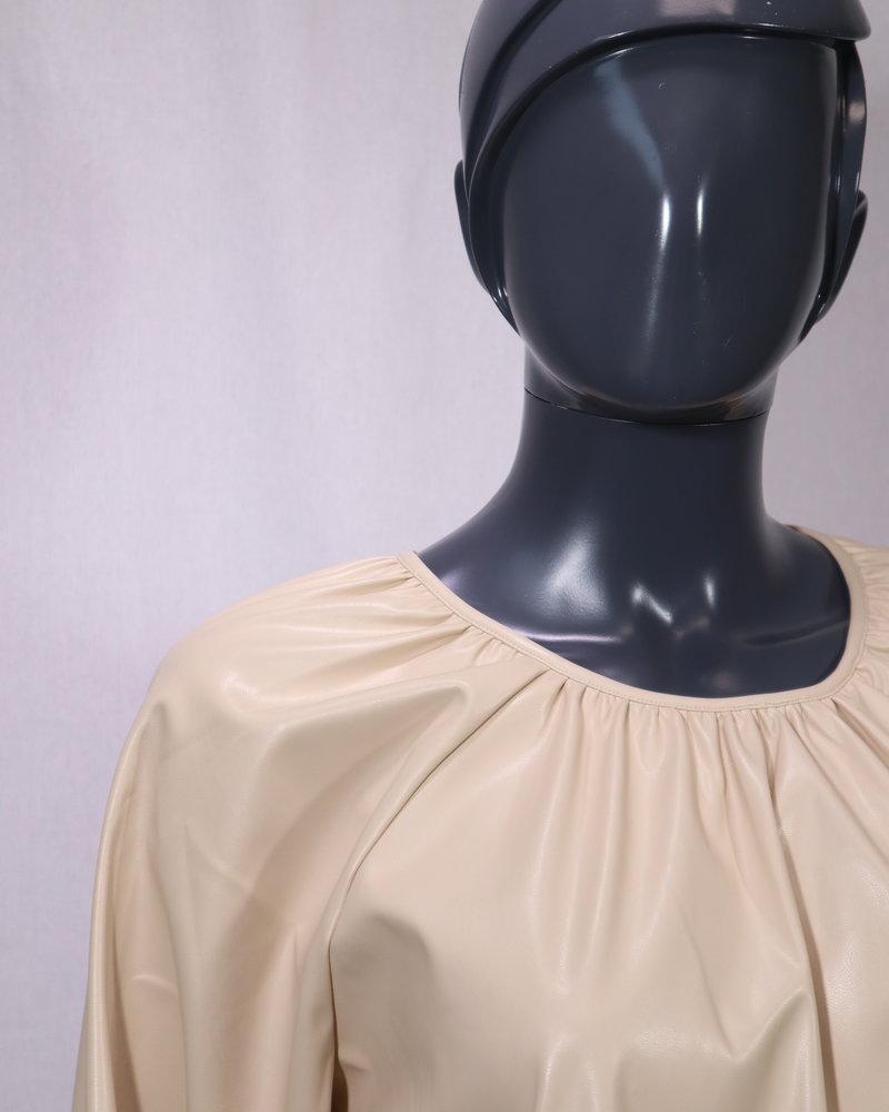 PU leatherblouse beige