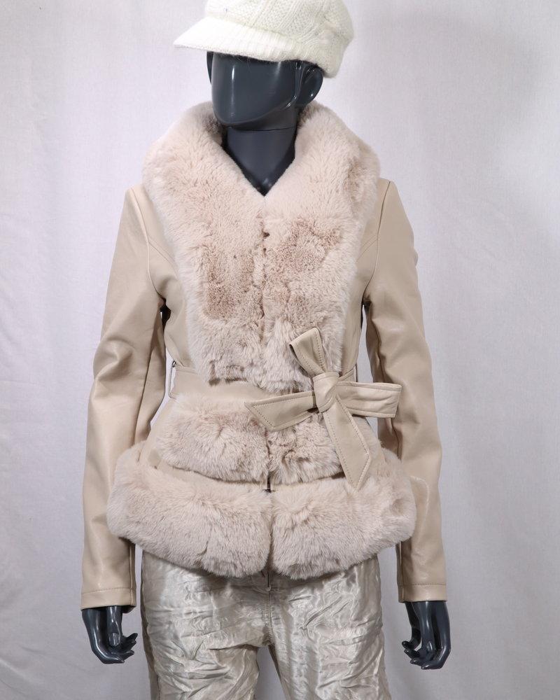 Leatherlook jas bont