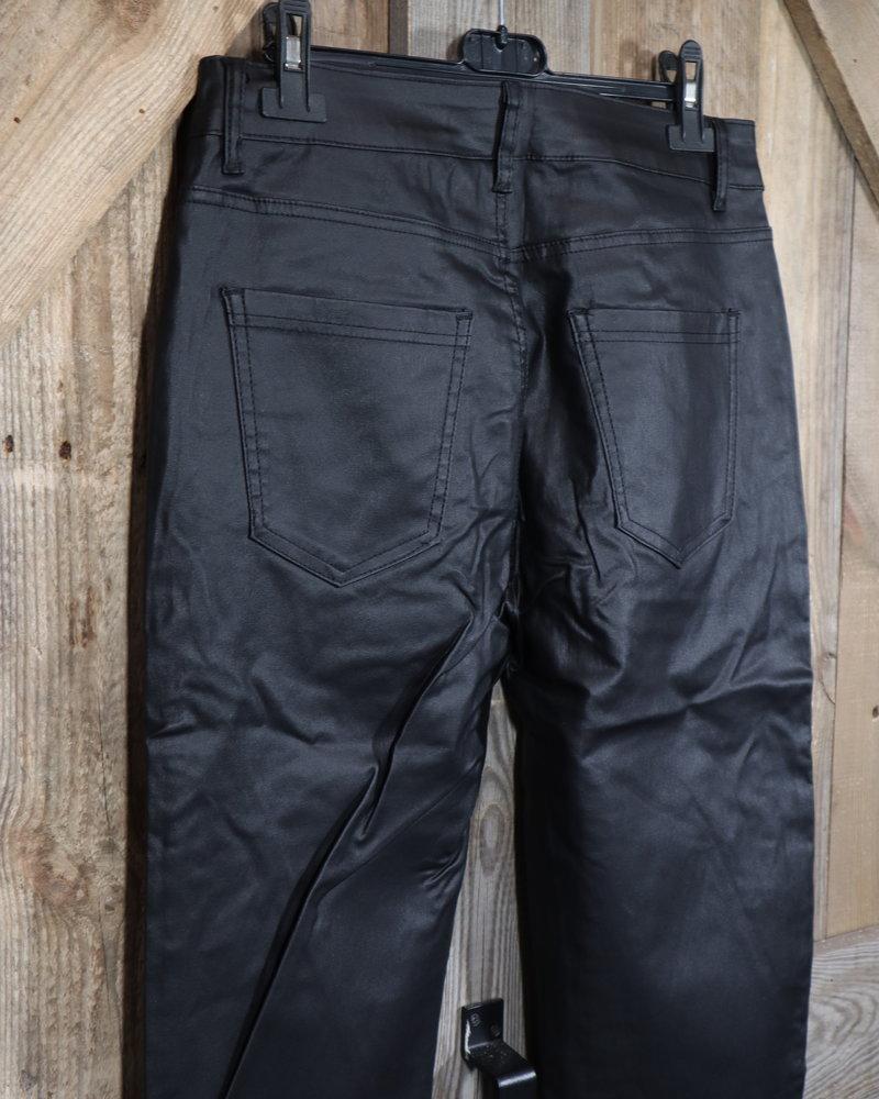 Coated broek zwart