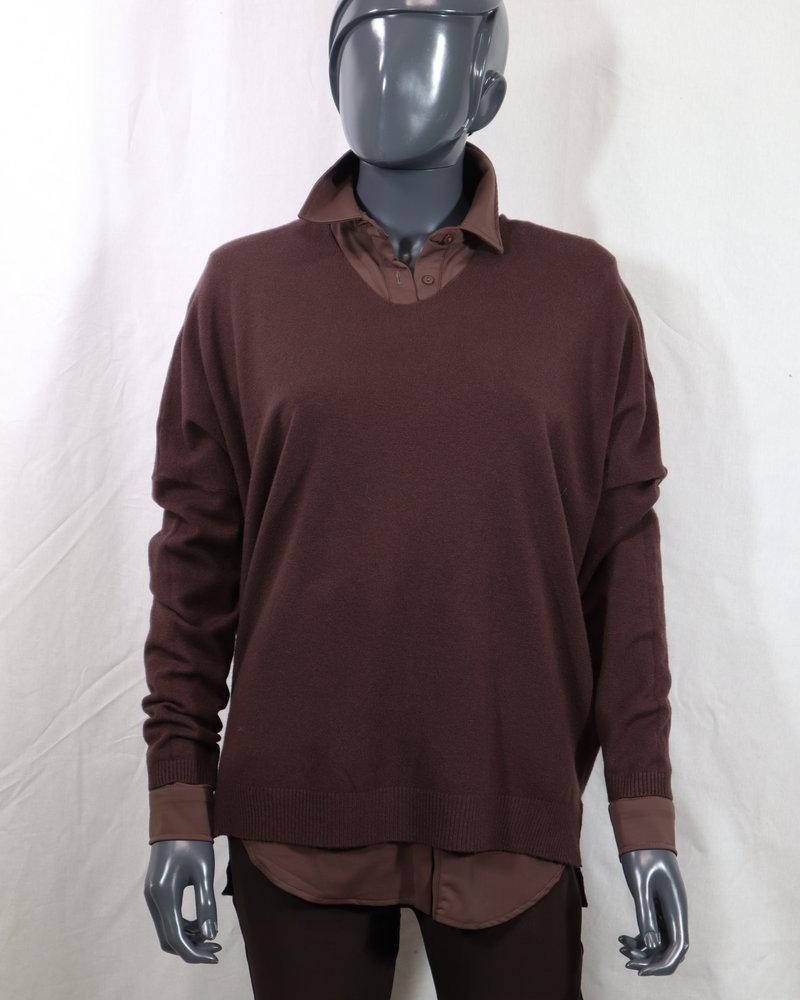 V-hals trui donker bruin