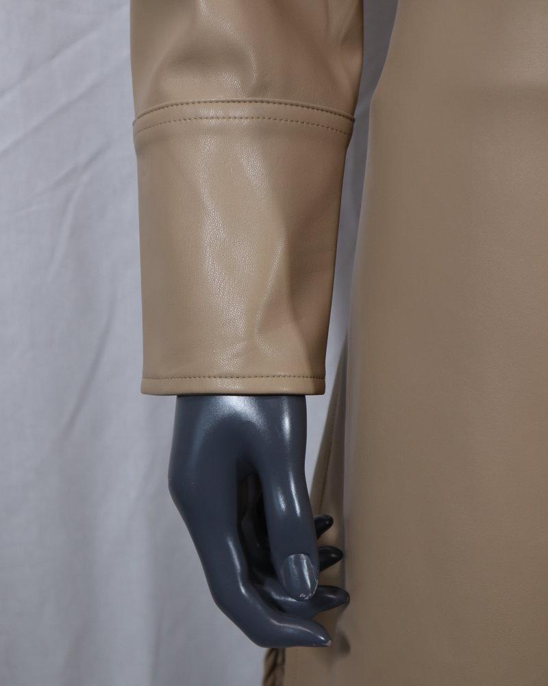 leatherlook jurk camel