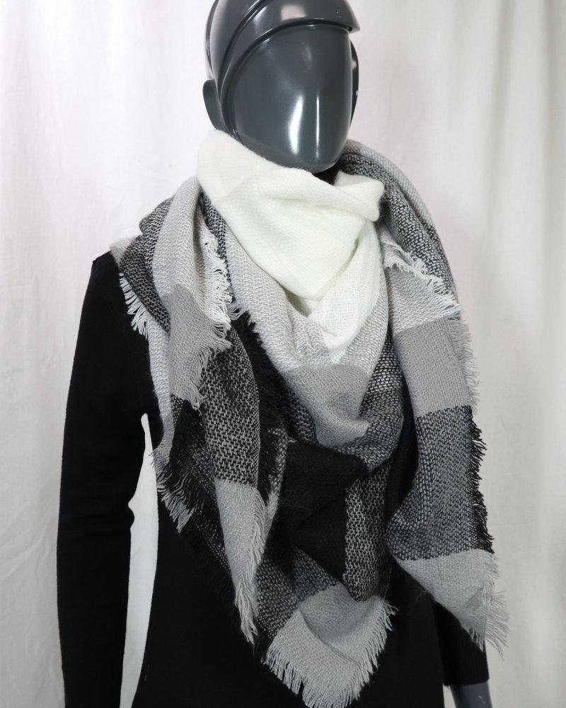Sjaal grijs geblokt