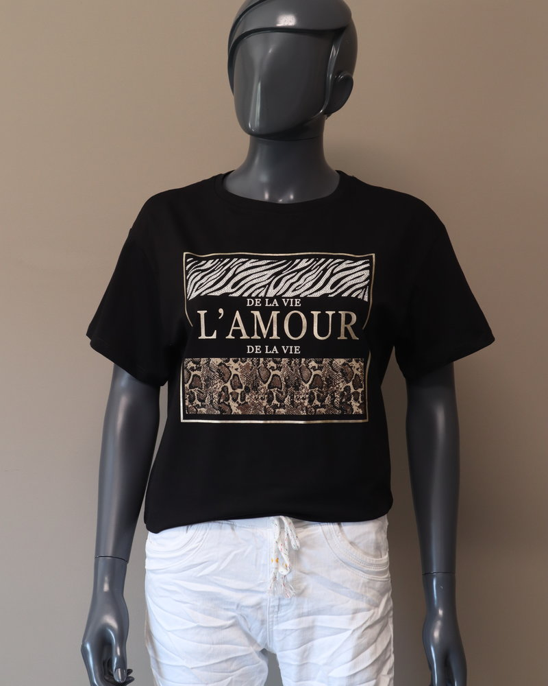 T-shirt (L'amour) zwart