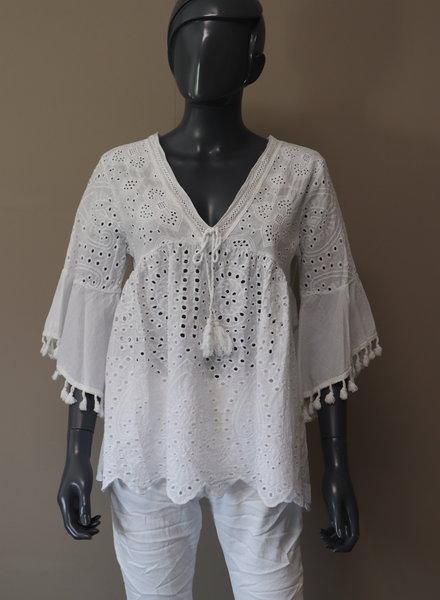 """Ibiza blouse """"Punta des Pinot"""" wit"""