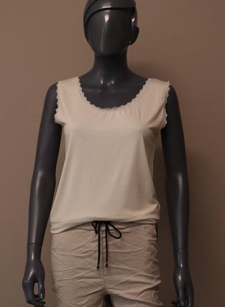 Basic hemd kant beige