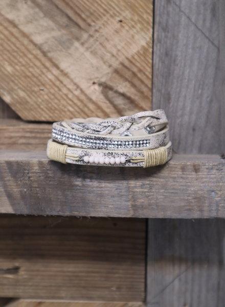Wikkel armband beige