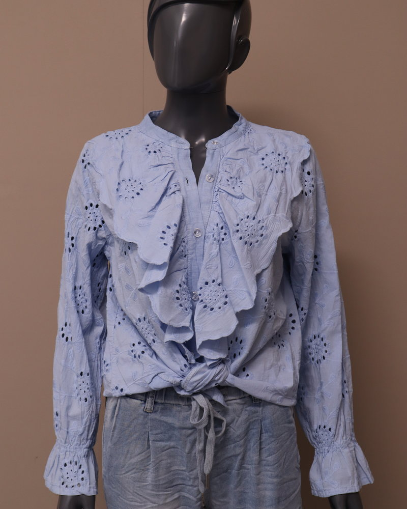 Broderie blouse blauw