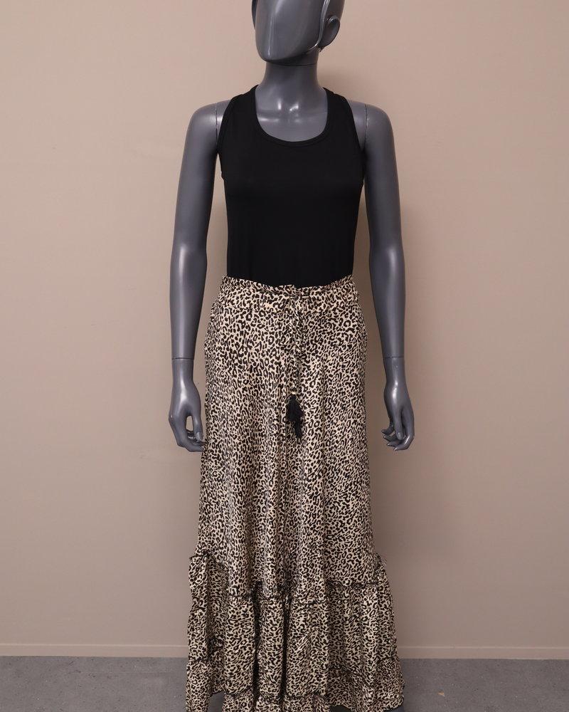 Maxi rok panter beige/zwart