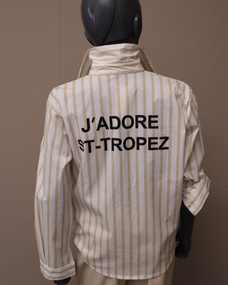 "Blouse streep ""St. Tropez"" beige/wit"