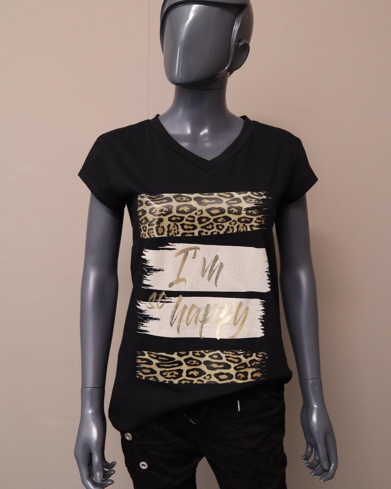 "T-shirt ""Im so happy"" zwart"