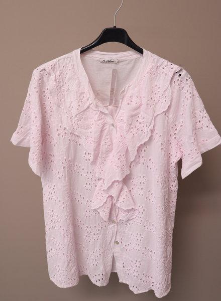 Broderie blouse roze PLUS