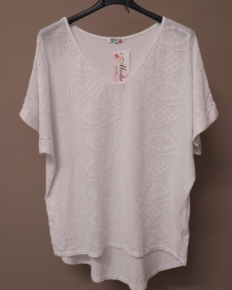 Broderie (voorzijde) shirt wit PLUS