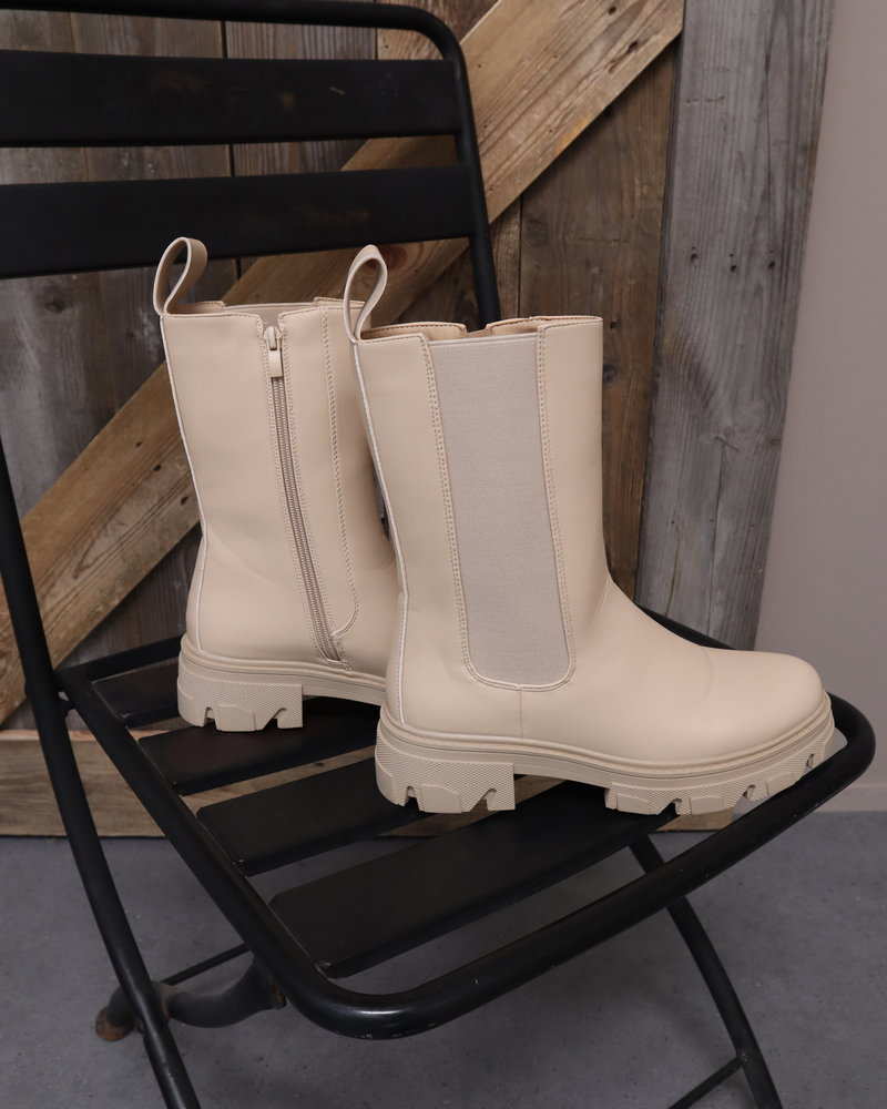 Boots rits beige