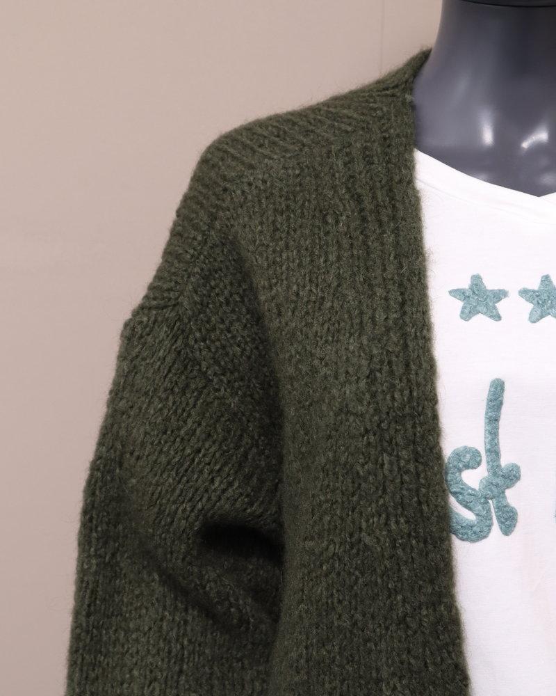 Grof gebreid vest (recht) groen