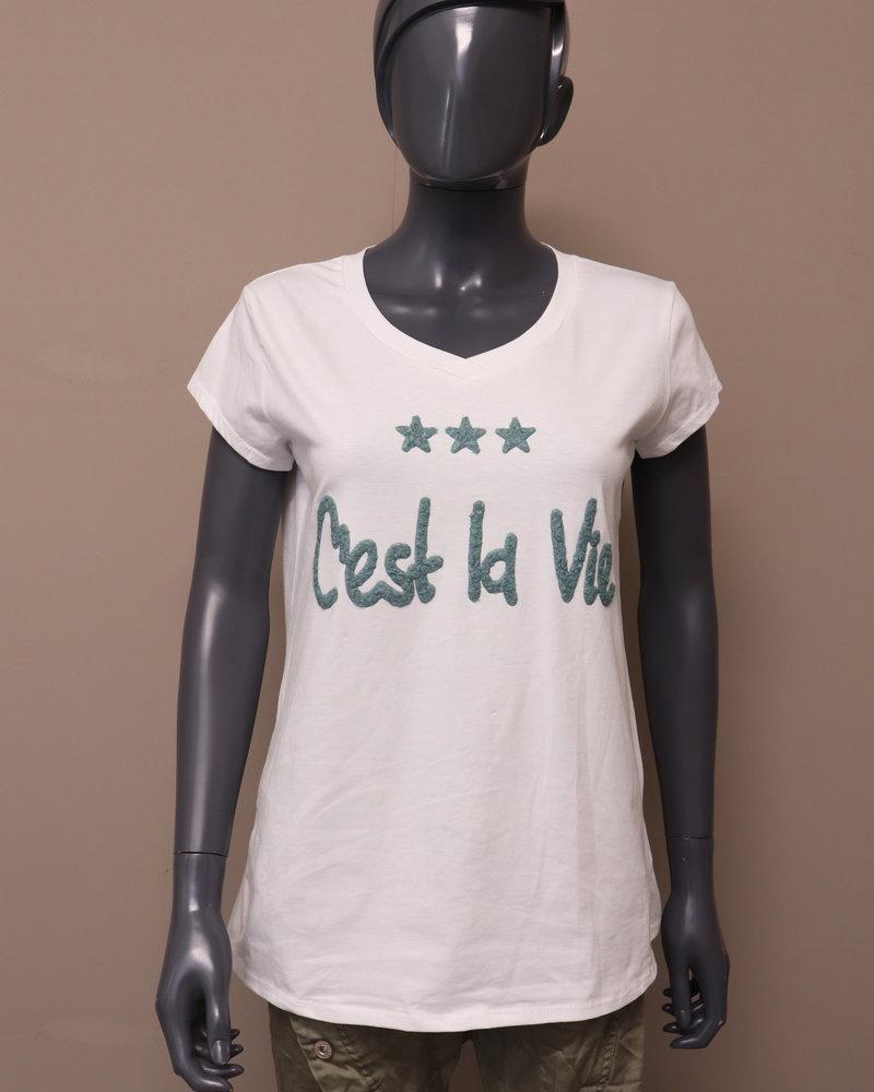 """T-shirt """"C'est la vie"""" wit/groen"""