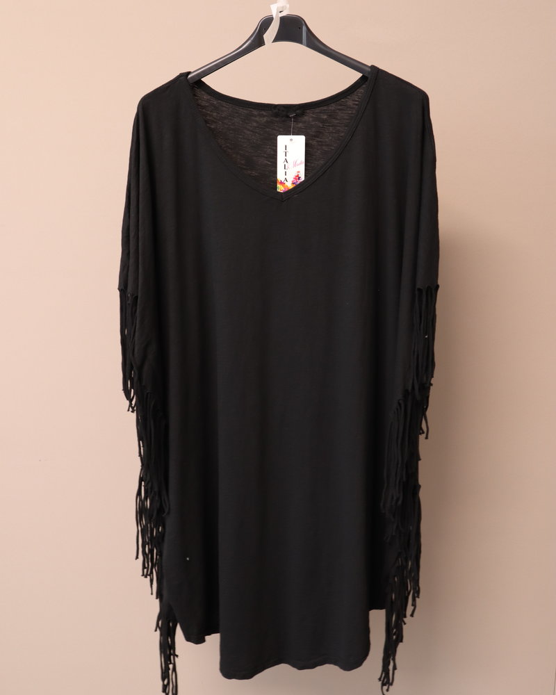 T-shirt V-hals fringle zwart PLUS