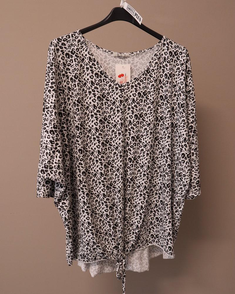 T-shirt knoop panter zwart/wit PLUS