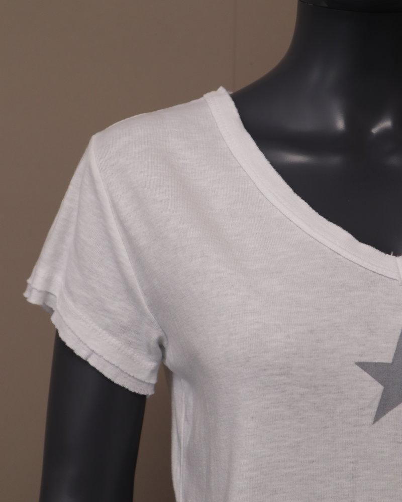 T-shirt V-hals ster grijs