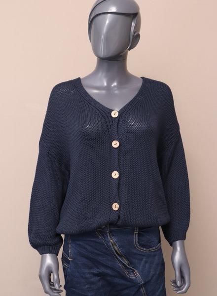 Vest kort knoop blauw