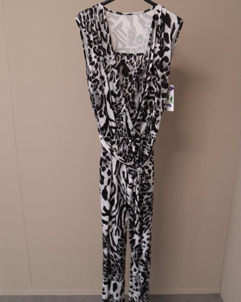 Jumpsuit panter zwart/grijs PLUS
