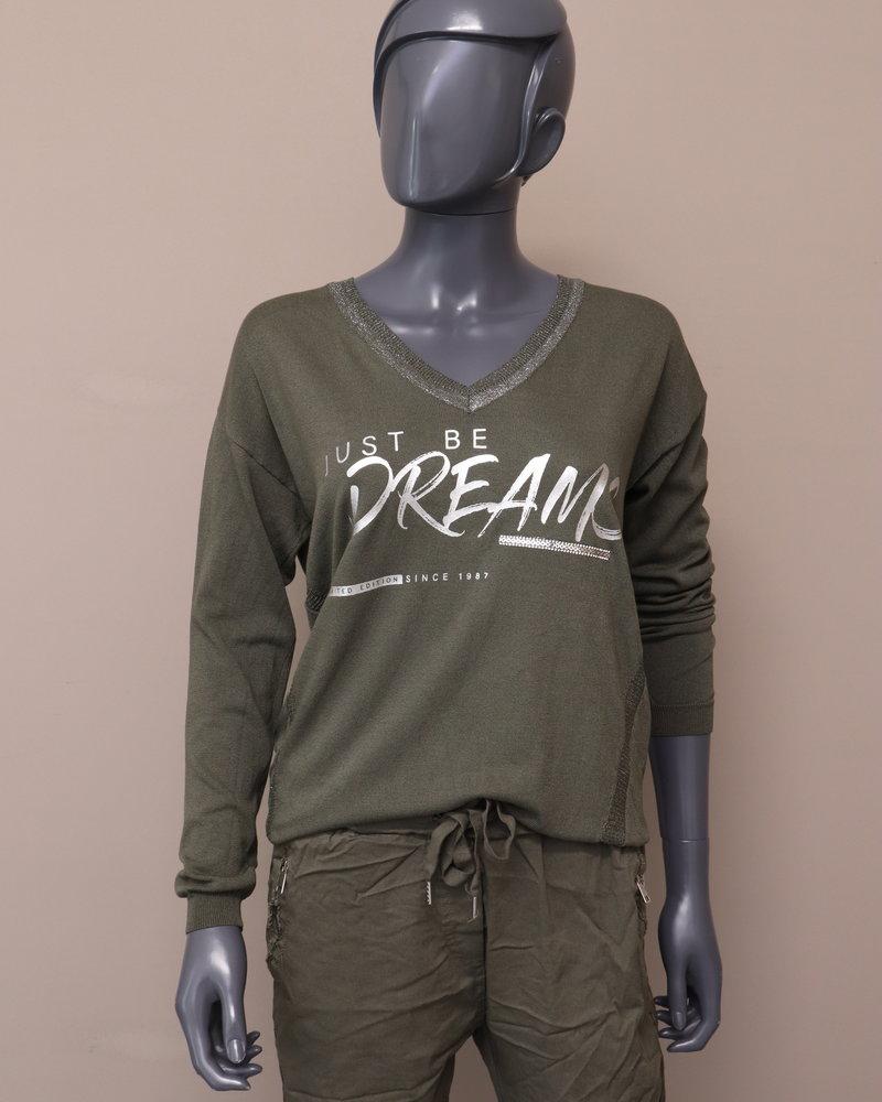 """Trui """"Just be dreams"""" groen"""