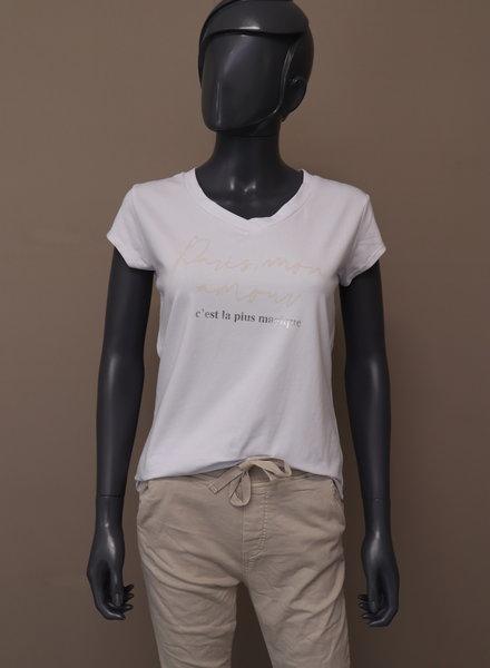"""T-shirt """"Paris, mon amour"""" wit/beige"""
