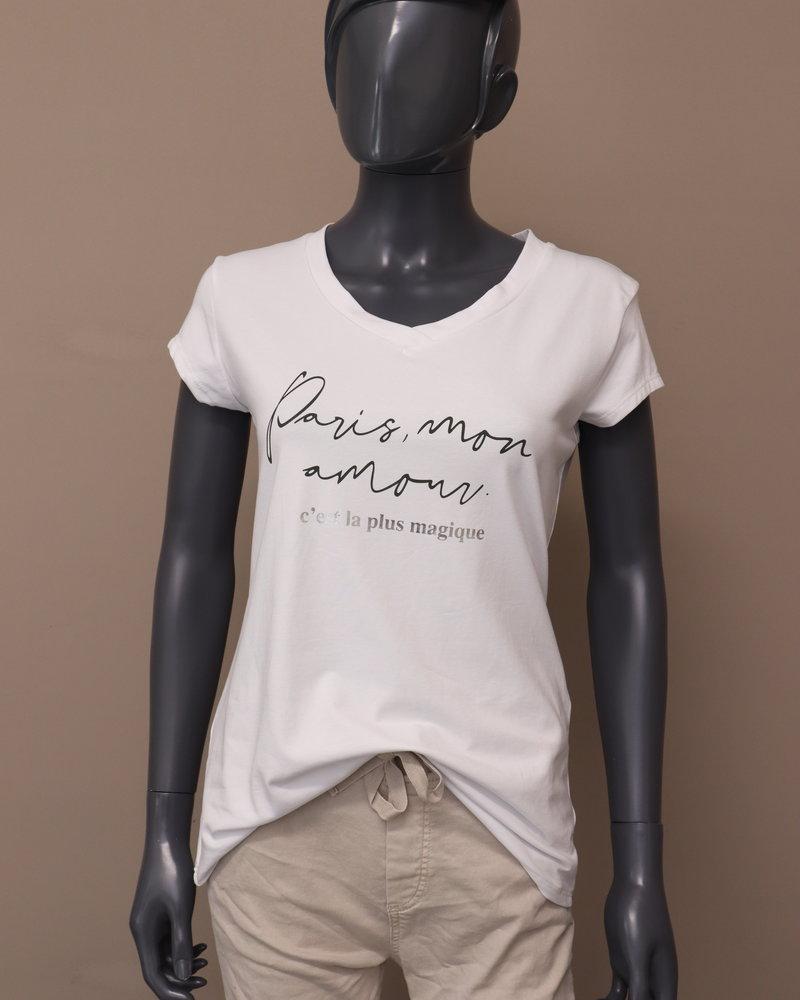 """T-shirt """"Paris, mon amour"""" wit/army"""