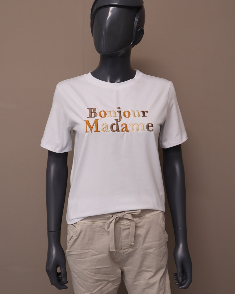 "T-shirt ""Bonjour Madame"" wit/najaar"