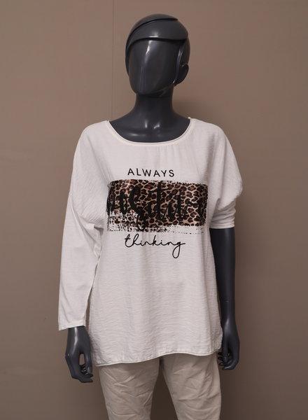 "Shirt ""Always positive thinking"" wit"