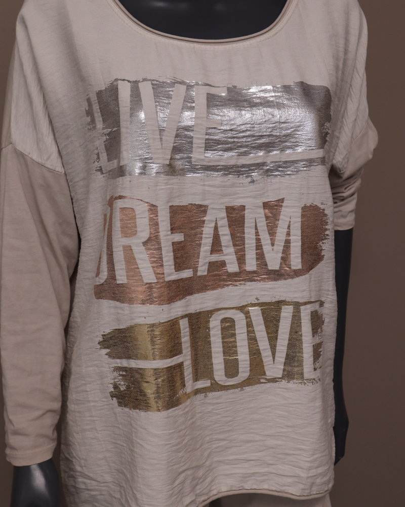 "Shirt ""Live dream love"" beige"