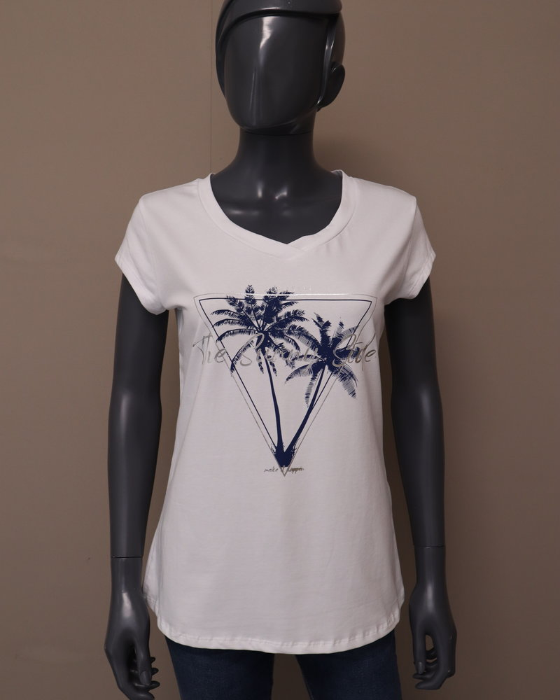 """T-shirt """"The Sunny Side"""" wit/blauw"""