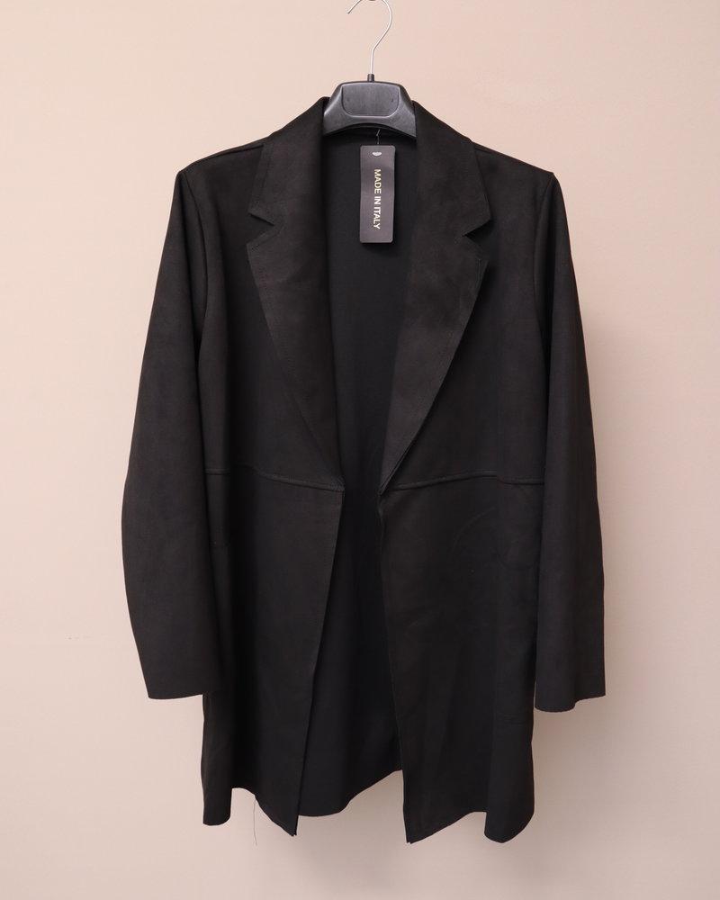 Suedine jas/blazer zwart PLUS