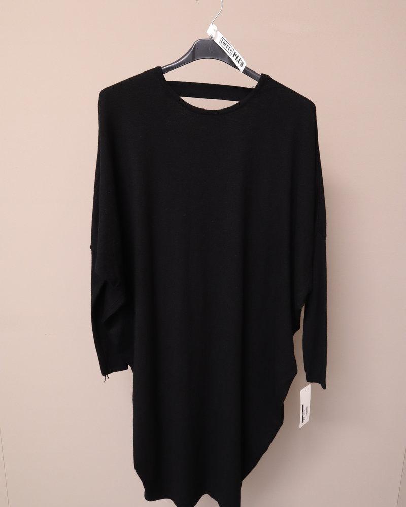 Tuniek/jurk fijn gebreid zwart PLUS