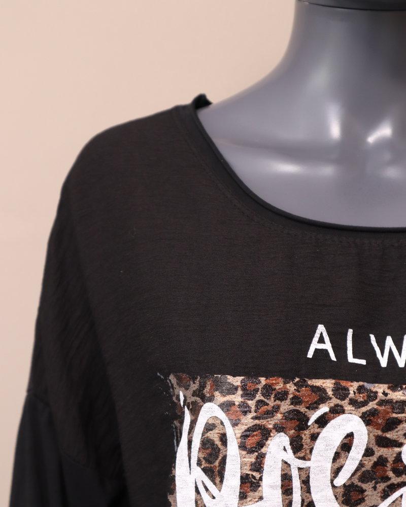 "Shirt ""Always positive thinking"" zwart"