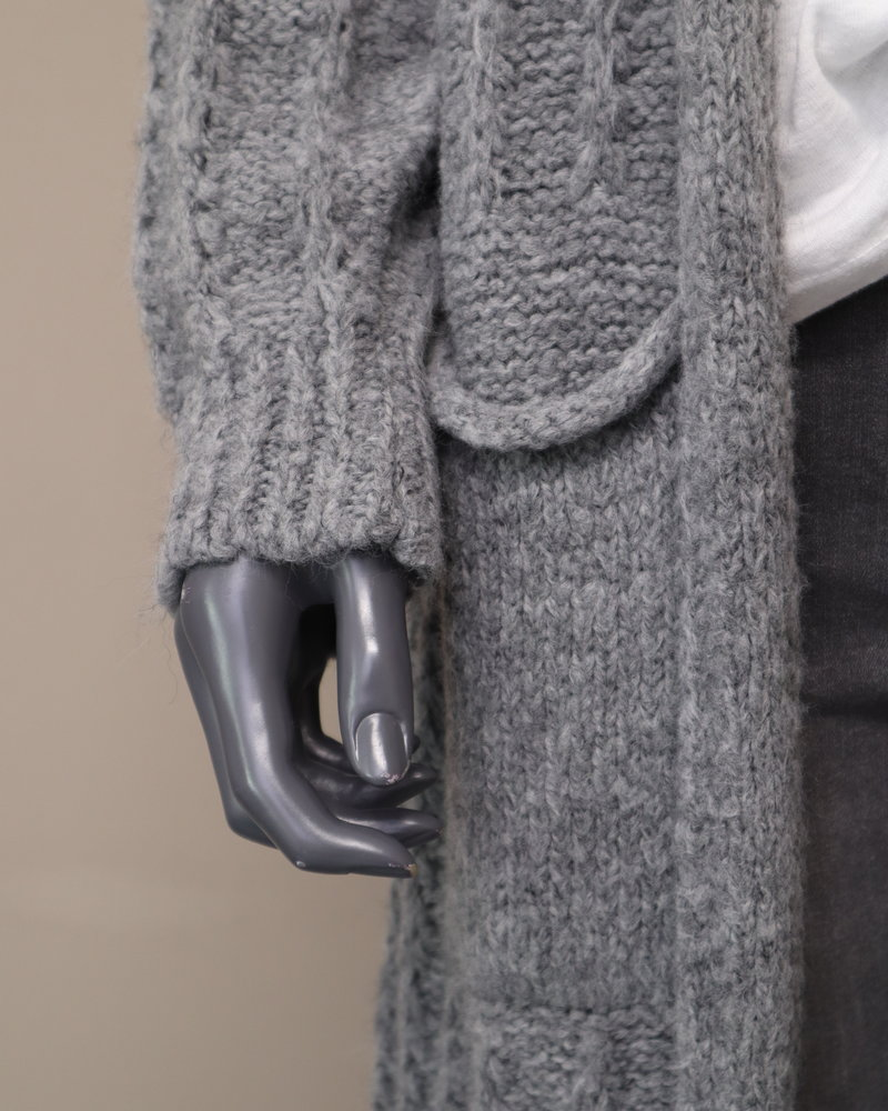 Kabelvest lang grijs