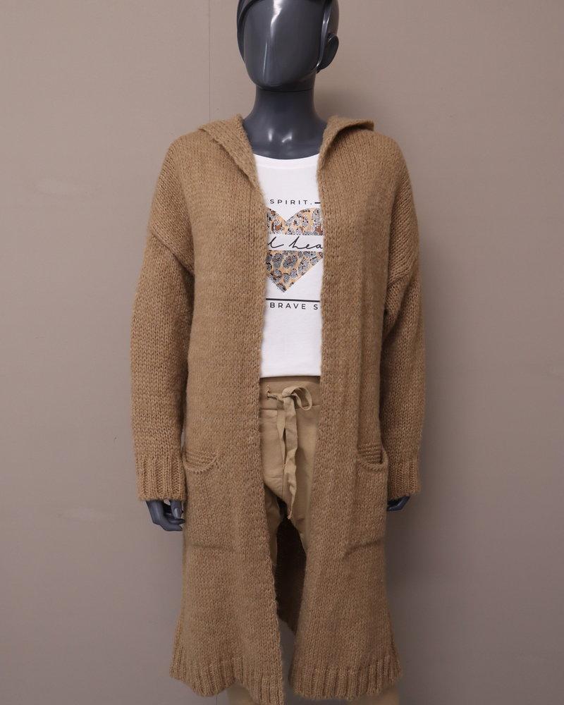 Vest capuchon gebreid camel