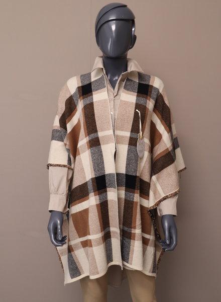 Poncho vest bruin/beige