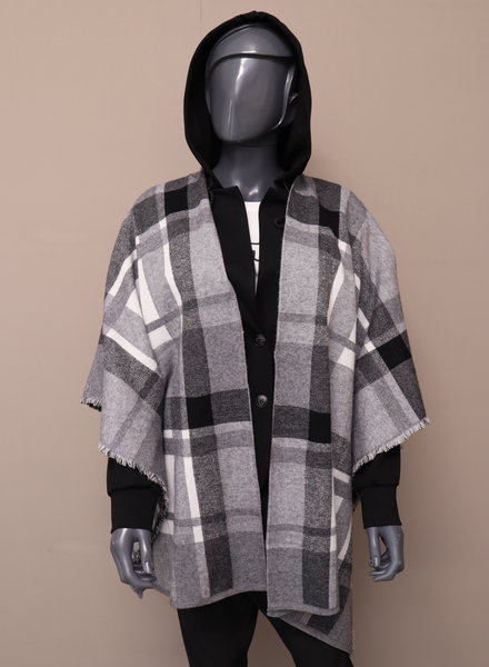 Poncho vest grijs/zwart