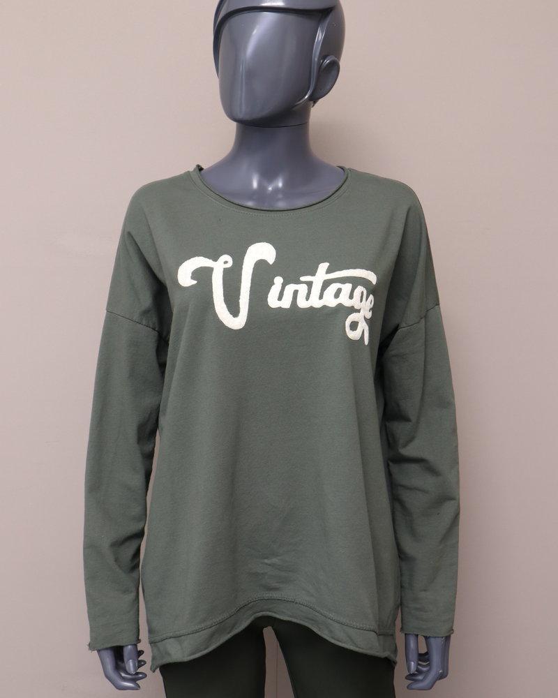 """Sweater """" Vintage"""" groen"""
